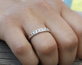 sister ring, 3mm fine silver ring, best friend ring, friendship ring jewelry, gift for sister friend, personalized, stacking ring, sisters