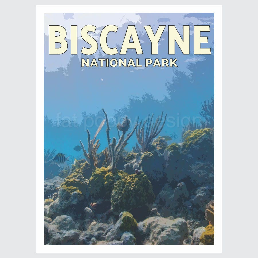Travel To National Parks Poster: Biscayne National Park Travel Poster Print WPA Style10% Of