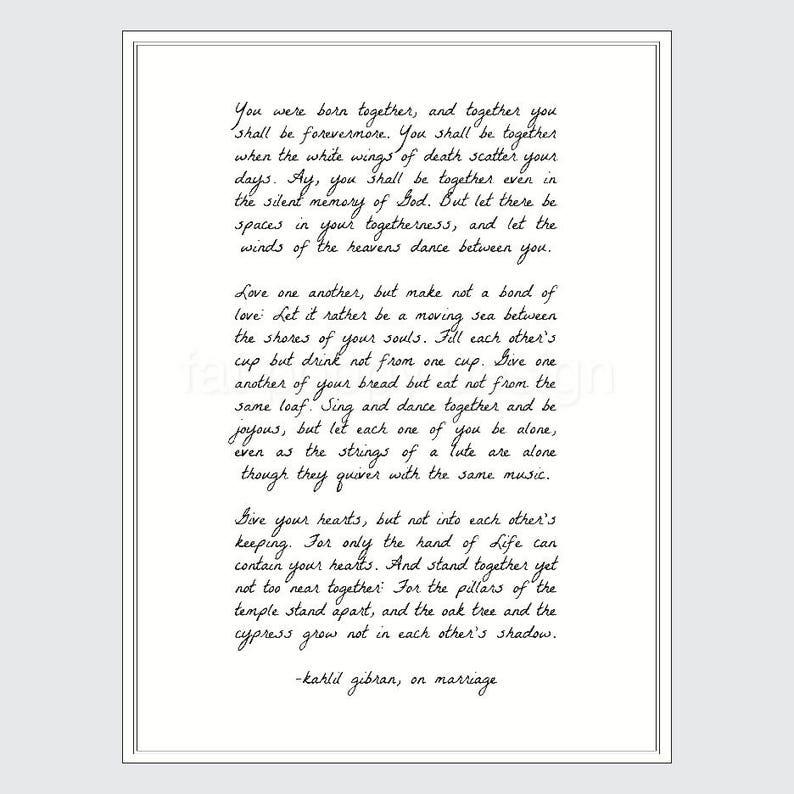 Kahlil Gibran Sul Matrimonio Preventivo Poster Stampa Etsy