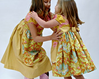 Matching Big Sister Little Sister Outfit,  Sister Set of Matching Dresses, Peasant Dress, Toddler Dress