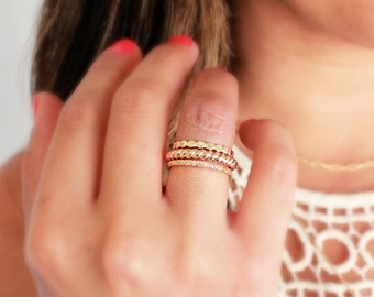Gold Bead Ring, Gold Filled Flat Bead Ring, Thick Stacking Ring, Unique Spacer Ring, Gold Ring Jewelry, Fall Jewelry, Trending, Layered Ring