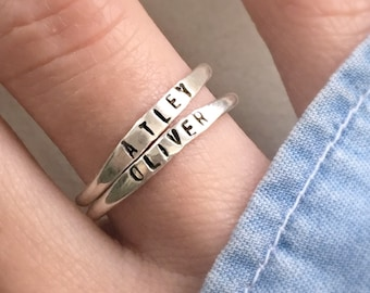 Stackable Name Ring, Personalized Stackable Silver Name Rings, Stacking Rings, Skinny silver stacking rings with names, mom rings, thin ring