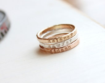 Stackable Name Rings, undarkened mixed metal, Personalized Hand Stamped Jewelry, skinny name ring, thin stacking rings, name jewelry, custom