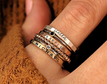 Mixed Metal Name Rings, Dramatic Rings with Names, Cursive Font name rings, handmade personalized gift rings, mom rings, the Maya