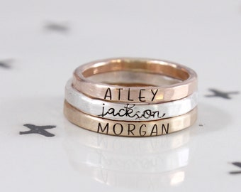Engraved rings, Trending, Stackable Name Rings, mixed metals, Name Ring, Personalized Hand Stamped Ring, Cursive font, Kids Skinny Name Ring