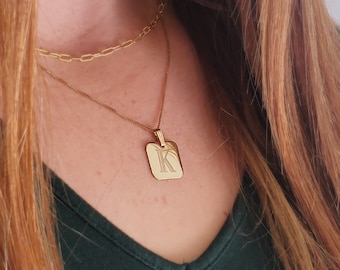 Gold Initial Necklace, Yellow Gold Filled Initial Letter Engraved Necklace, Shiny Gold Square Initial Pendant with Chain, Teen Gift