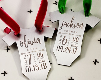 Personalized Baby's First Christmas ornament, Baby Gift, Shower Gift, Baby Stats,Statistics, Baby Clothes, Birth Details, tagyoureitjewelry