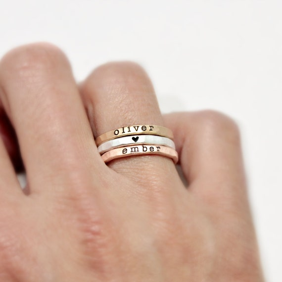 1st Mothers Day Custom Name Ring Stacking Rings