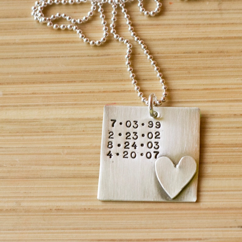 Special Dates Jewelry Birthday Necklace Sterling silver birthdate necklace Tagyoureitjewelry Personalized Dates Necklace