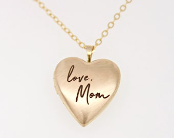 Handwriting Locket, Gold Filled Heart Locket with custom handwriting, personalized gold heart locket, remembrance necklace, memorial jewelry