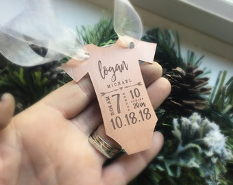 Baby's First Christmas Ornament, Copper Baby Ornament, Baby Statistics Ornament, Holiday Decor, Holiday Ornament, Onesie Ornament
