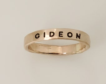 Thick Yellow Gold Filled Name Ring, Stack Ring with Name, Yellow Gold Name Ring, Mother Yellow Gold Name Ring