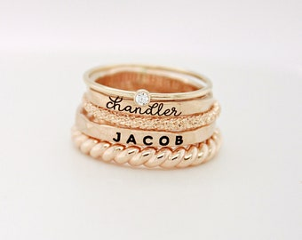 Ring Set with Names, 14K gold filled name rings, maximalism ring set, warm tones, gift for women, mom jewelry, personalized rings, The Sasha