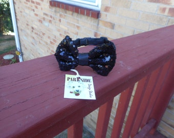 Black Sequin Bow Tie For Cats