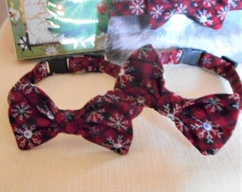 Red Plaid Bow Tie With Snowflakes For Cats