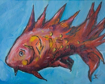 Red Fish painting Sea world painting Fantasy Animal art painting Beach home decor Acrylic canvas panel painting 9x12 bright painting