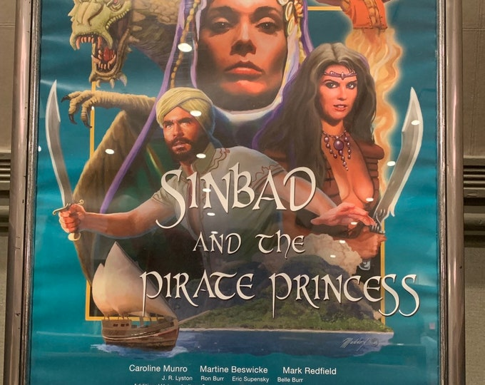 Sinbad and the Pirate Princess autographed poster Caroline Munro