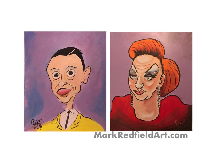 John Waters and Divine paintings (2017) by Mark Redfield