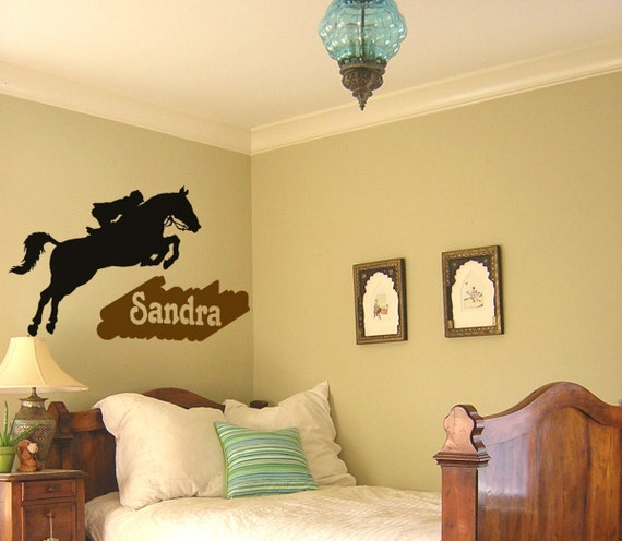 Horse decal, girls name wall sticker, teen bedroom horse decal, childs  personalized pony decal, western wall decor, mustang, 35 X 28 inches