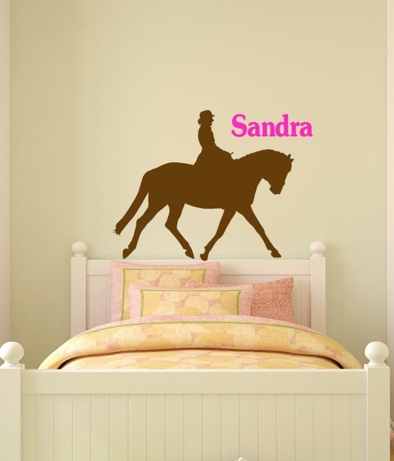 horse wall decal name wall sticker girls personalized pony | etsy