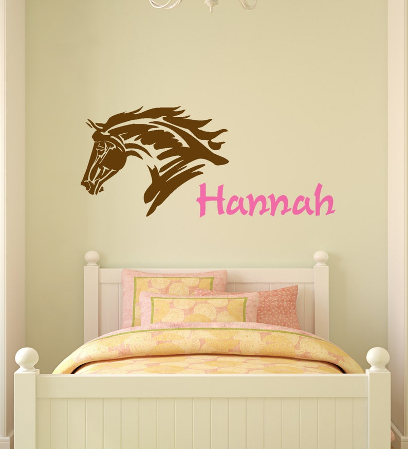 Horse Decal Mustang Wall Sticker Teen Girls Name Personalized Western Decor  Girls Bedroom Childs Name Kids Name Pony 21 X 48 inches