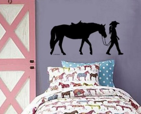 Horse Pony Wall Decal Cowgirl Western Sticker Girls Room Decor College Student Dorm Room Teen Bedroom Decal Western Wall Decor Horse Rider