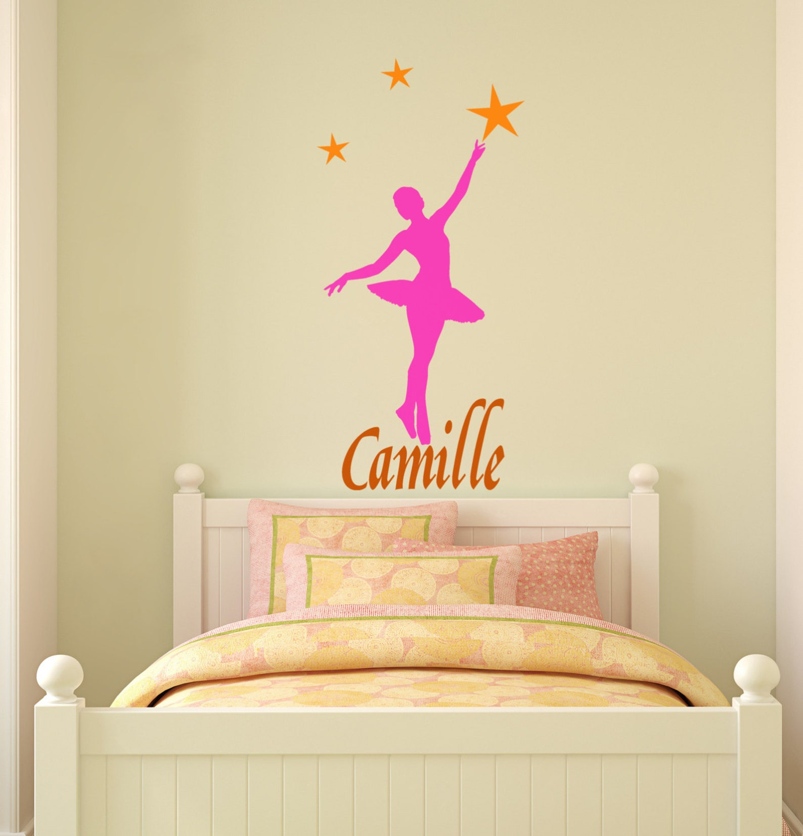 ballerina dancer wall decal, ballet sticker, name decal, girls bedroom personalized decal, teen room sticker, star decal, 19 x 4