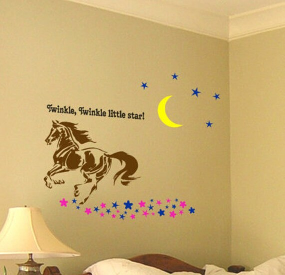Horse wall decal girls room wall words teen girl bedroom vinyl wall decor  word art mustang western wall childs decal-43 X 50 inches