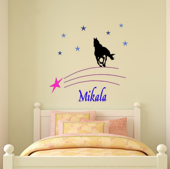 Horse decal, name wall sticker, girls bedroom wall decal, teen room decor,  personalized decal, star decal, nursery, 40 X 40 inches,92 - HP