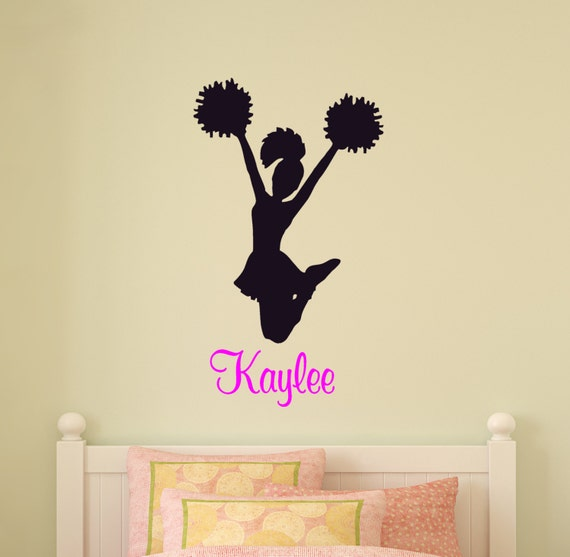 Girls Personalized Name Cheerleader Wall Decal StickerCustom Cheer Silhouette Name Spirit Squad Pose Laptop,Tablet /& Door Decor Kids