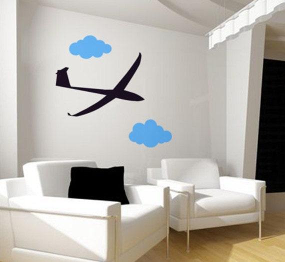 Planeador planeador pared calcomanía nube Sticker aviación