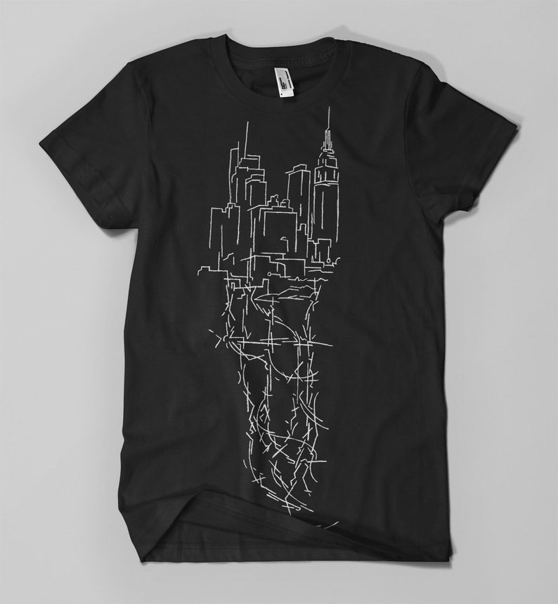 NY CITY VEINS Manhattan  Men's T-Shirt white on black image 0