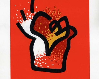 Heart in a Cup - Oil Lino Block Print