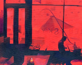 """ON SALE! """"Red Sky, Philadelphia"""" - Giclee Print - Limited Edition of 5"""
