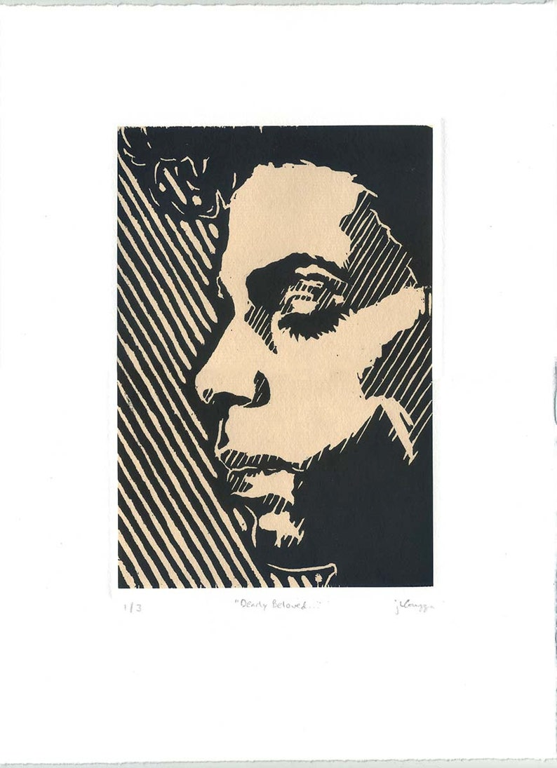 PRINCE  Dearly Beloved  Chine-collé Woodblock image 0
