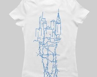 ON SALE! NY City Veins (Manhattan) - Women's T-Shirt - Blue on White