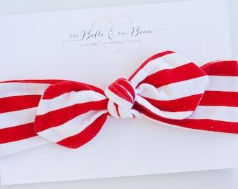 Baby Knot Headband, Baby Turban Headband, Baby Headwrap, Turban Headband, Toddler Knotted Headband, Baby Gift - Red And White Stripe