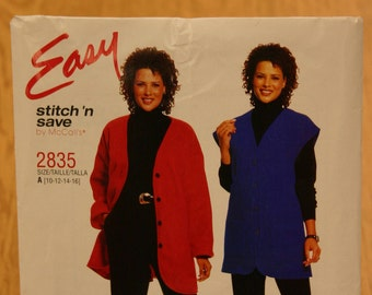 Easy Stitch 'n Save by McCall's Misses Pattern 2835 Sizes 10-16