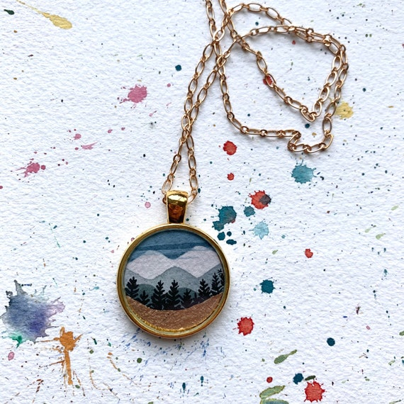 mountain necklace statement necklace bright and colorful mountains glass cabochon Hand painted watercolor mountains nature necklace