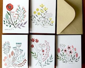 Vintage Florals Greeting Cards, Set of 5 - Botanical Print,  Flower Art Blank Cards with Kraft envelopes, FREE SHIPPING