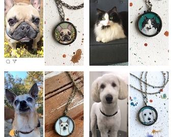 Pet Portrait Custom Painting, Hand Painted Necklace, Dog, Cat, Animal Portrait Personalized Jewelry, Original Watercolor Miniature Painting