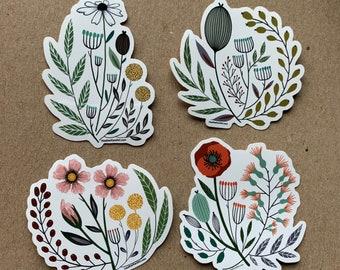 Set of 4 Vintage Floral Art Sticker - 3inch, VALENTINE'S DAY