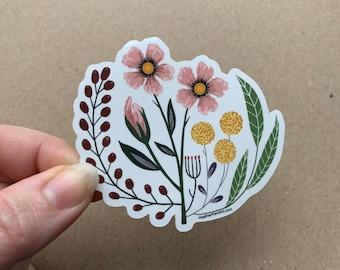 Vintage Florals, Pink Petals Art Vinyl Sticker - 3inch, VALENTINE'S DAY