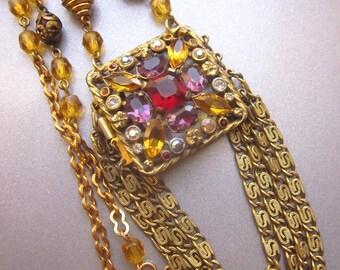 Rhinestone Assemblage Statement Necklace Repurposed Vintage Jewelry Colorful Crystal Rhinestones