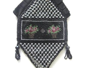 Vintage Beaded Purse Black Clutch Floral Bag Wristlet