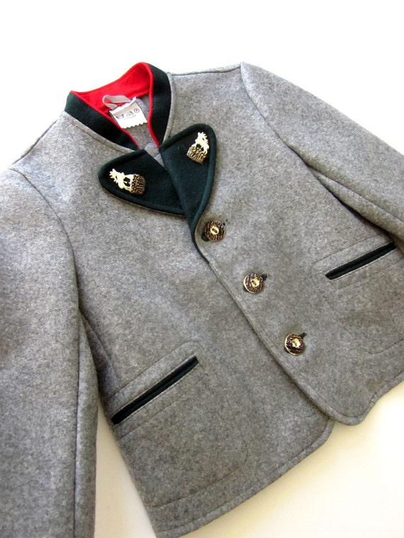 Vintage Grey Wool Boys Jacket Bavarian Alps German