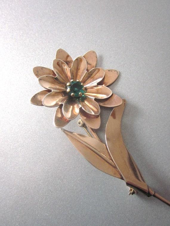 Sterling Silver Vintage Floral Brooch