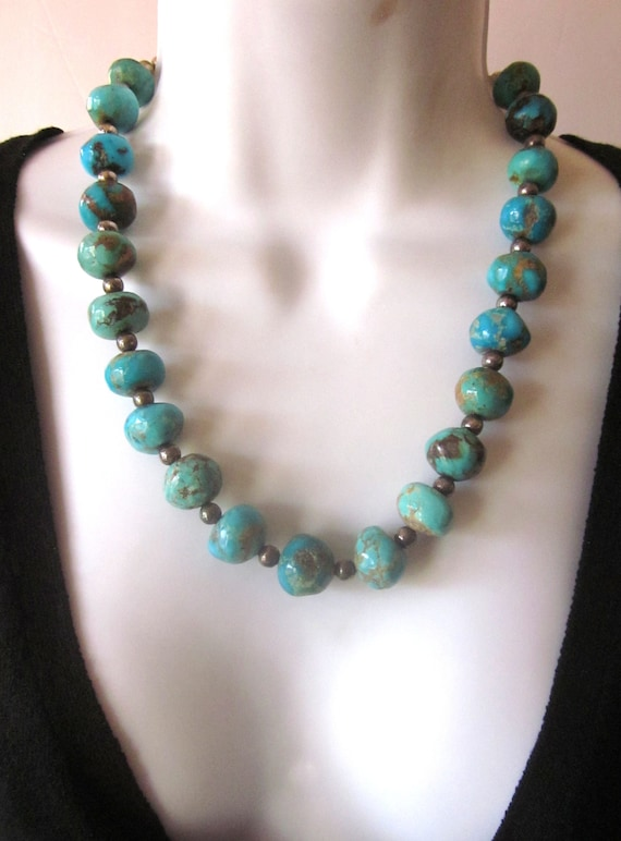 Natural Turquoise Necklace Genuine Chunky Turquois