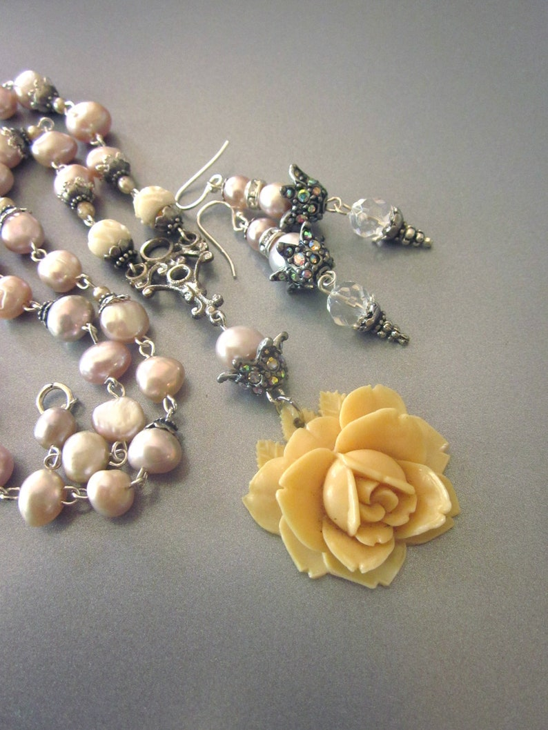 Pearl Assemblage Necklace Set Earrings Carved Rose Fresh Water Pearls Bridal Jewelry Set