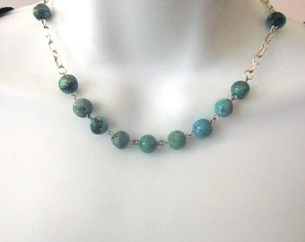 SALE Natural Turquoise Stone Beaded Necklace Southwest Jewelry